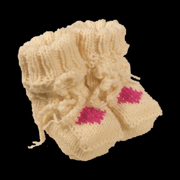 FIRST Taufsöckchen wollweiß mit Raute pink