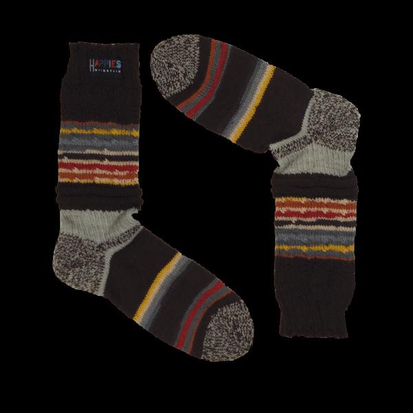 Stutzen klassisches Design dunkle Brauntöne & bunte Streifen