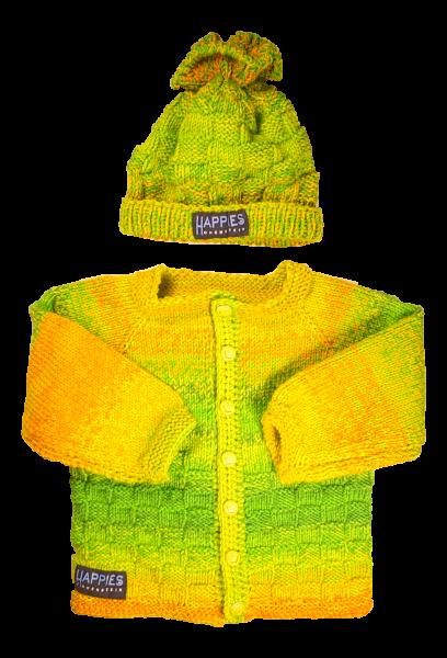 Babyjacke mit Haube, gelb-grün Töne