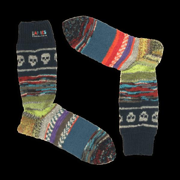 Socken Motiv Totenköpfe grau