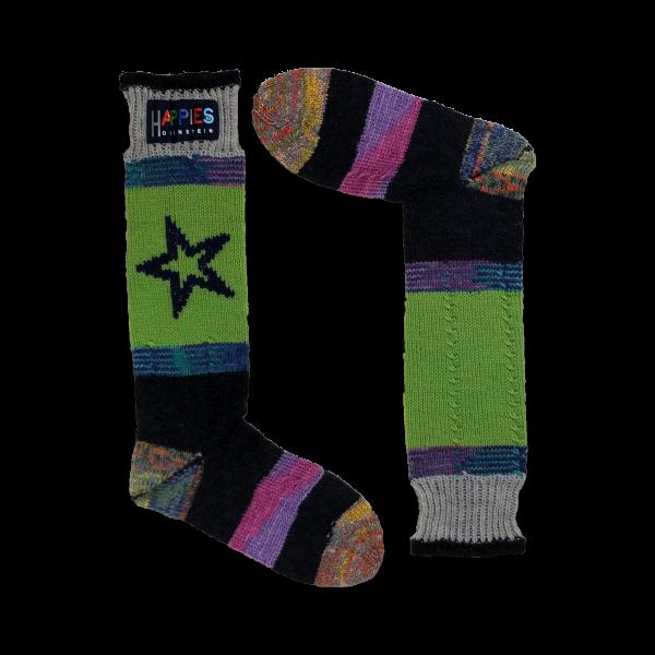 STS.B.001 Stutzen Motiv Stern schwarz/grün